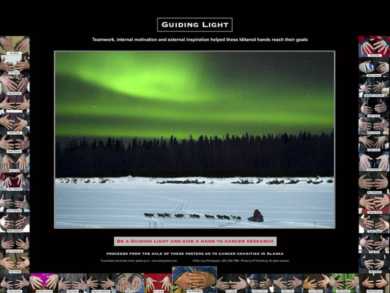 Poster-Iditarod-dogteam-aurora-northern lights-Alaska-Ron Levy Photography