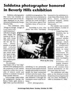 Wings of Change-BeverlyHills-exhibit-newspaper-article-Ron Levy Photography