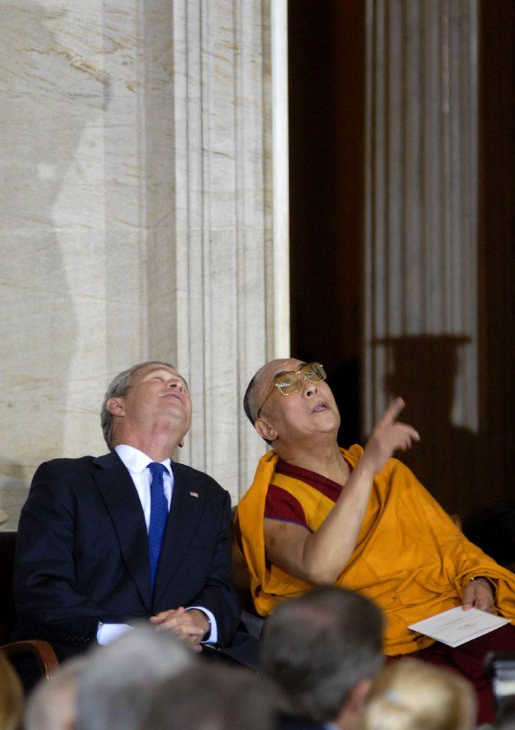 Dalai-lama-President George W. Bush-pointing to ceiling-Congressional Rotunda-Washington DC-Ron Levy Photography