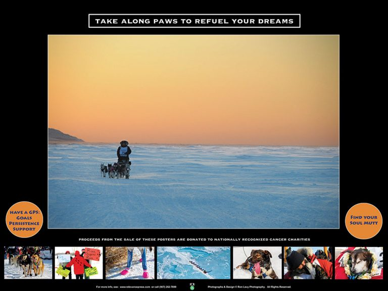 Iditarod-poster-sunset-dogteam-Bering Sea-Alaska-Ron Levy Photography
