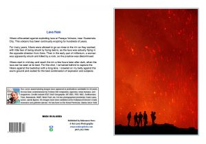 Lava above silhouetted hikers-Pacaya volcano-Guatemala-notecard-Ron Levy Photography