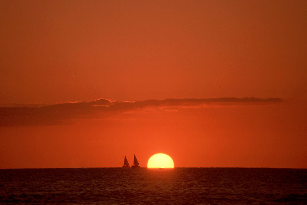 Sailboats and sunset, Hawaii-Ron Levy Photography