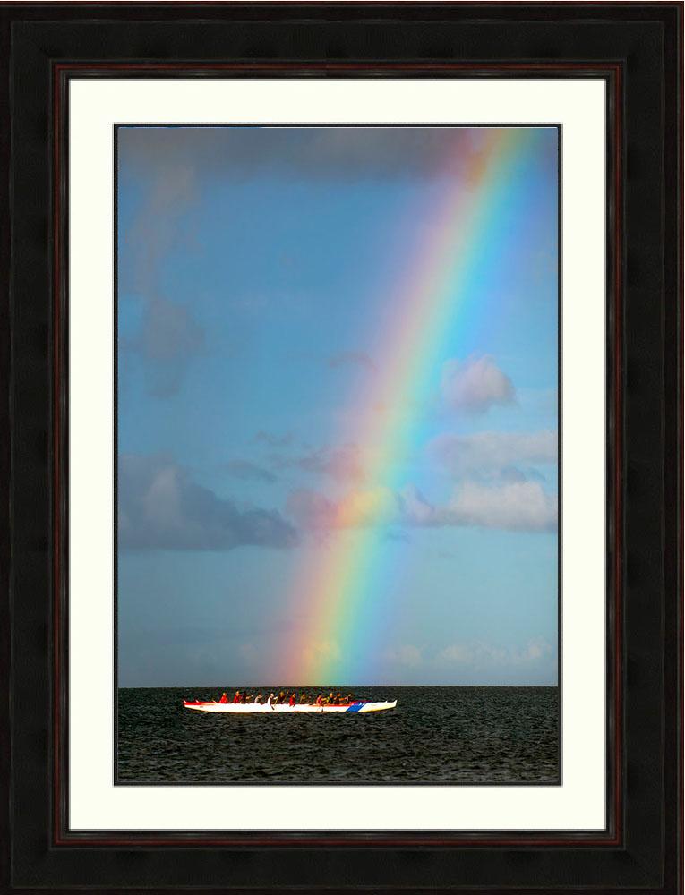 rainbow-ocean-outrigger-canoes-Maui-Hawaii-Ron Levy Photography