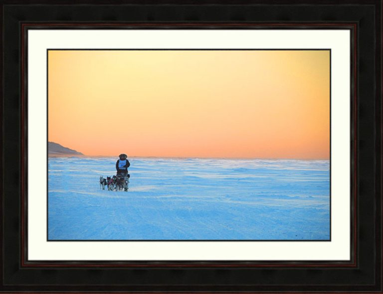 Iditarod-dogteam-Bering Sea-Alaska-sunset-framed-Ron Levy Photography