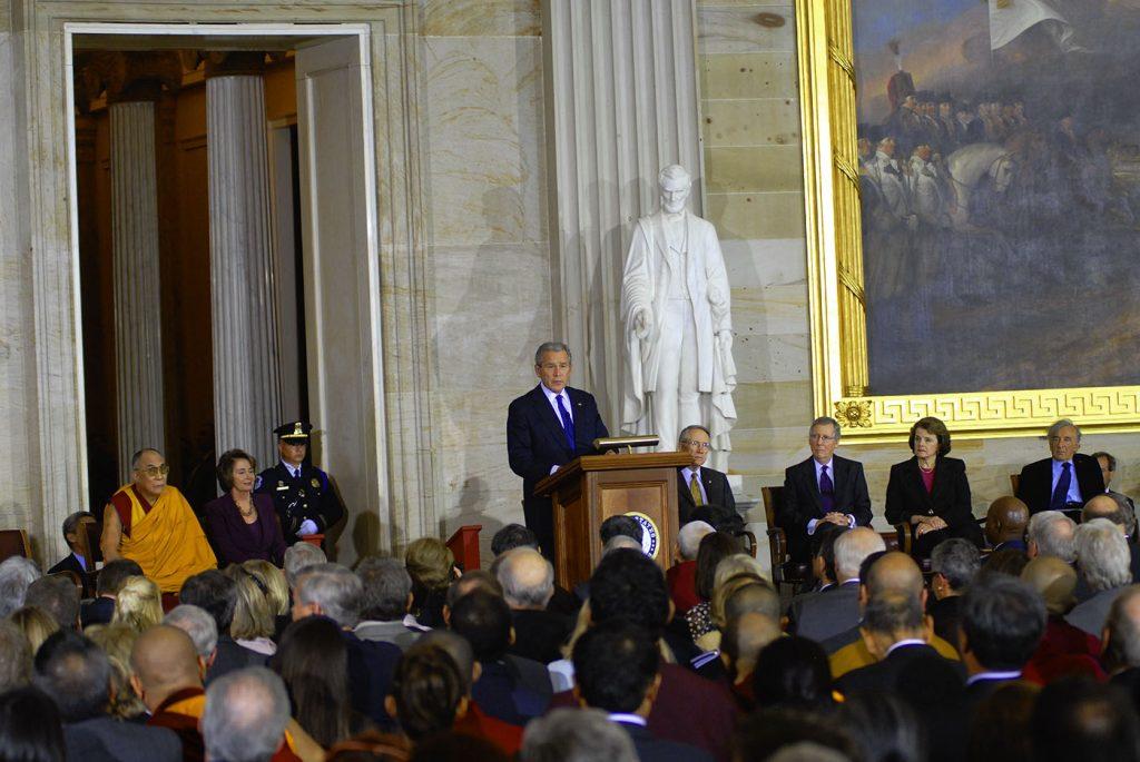 Dalai Lama, President Bush, Nancy Pelosi, Elie Weisel, Congressional Gold Medal, US Capitol 2007