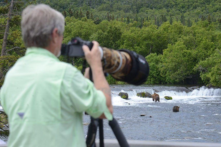 photographer, brown bears, Brooks Falls, Alaska-- ronlevy