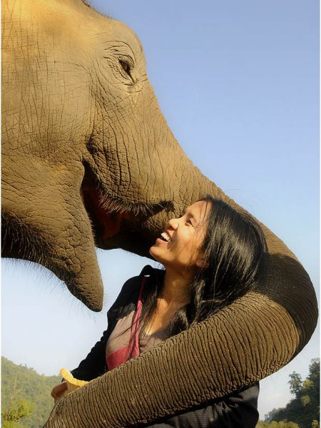 Lek Chaillert-owner-young-rehabilitated elephant-Elephant Nature Park-Chiang Mai-Thailand-Ron Levy Photography